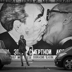 My God, Help Me to Survive This Deadly Love (JONE VASAITIS) Tags: street city people blackandwhite bw berlin germany photography nikon grafitti explore berlinwall brezhnev fraternalkiss leonidbrezhnev erichhonecker dmitrivrubel explored bruderkus