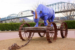 Blue Boy Pull Toy #1 and Walnut Street Bridge (SeeMidTN.com (aka Brent)) Tags: bridge blue chattanooga tn tennessee northshore rhino publicart cart walnutstreetbridge rhinocerous tennesseeriver pulltoy coolidgepark johnpetrey bmok bmok2 blueboypulltoy1 publicartchattanooga
