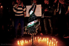 Christmas celebrations in front of the Syrian Embassy        (MoudBarthez) Tags: christmas freedom community die country crowd egypt security embassy syria cheers bashar preparations syrian   celebrated     alassad