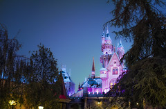 Winter Castle In The Woods - EXPLORE (Natalie Bell) Tags: christmas pink winter snow castle night twilight disneyland bluehour icicles fantasyland sleepingbeautycastle sleepingbeautywintercastle