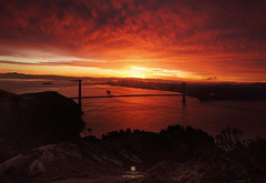 fusion rising (louie imaging) Tags: sf life california camera new morning bridge red sky cloud sun film clouds america sunrise john photography rising dawn golden bay gate san francisco paradise raw fuji dynamic state personal expression year dream large inspired grand 8x10 burn journey imagination format louie fusion visual discovery provia fiery perseverance interpretation mesmerizing