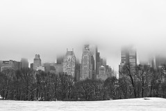 White out {Explore Dec 29, 2012} (Nellies78) Tags: nyc newyorkcity blackandwhite white snow ny newyork building monochrome skyline skyscraper centralpark centralparksouth sheepmeadow