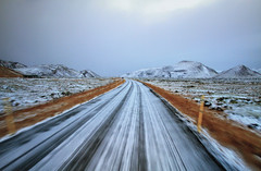 On to New Horizons in Iceland (` Toshio ') Tags: road street winter snow cold grass island gold lava iceland europe european path horizon fast icelandic goldencircle lavafield toshio