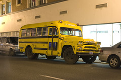 1958 GMC Bus (Curtis Gregory Perry) Tags: street school bus yellow night oregon truck portland washington nikon long exposure 1958 gmc d300