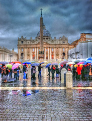 Waiting in line (Cat Girl 007) Tags: travel people italy vatican rome roma rain architecture europe catholic historic line christianity stpeterssquare umbrellas stpeter nationalgeographic iphone holysee angelsdemons contemporaryartsociety stpetersbasilica yourpreferredphoto travelpilgrims iphoneography texturebydistressedjewell