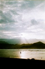 Water Walker, 2012 (ryantatar) Tags: sunset film analog 35mm kauai hanalei campfiresukuleles