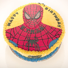 Spiderman Cake Ethan I (Doha Sam) Tags: birthday red party white home cooking yellow cake digital umbrella studio nikon raw flash spiderman indoors diffuser doha qatar d80 strobist lumopro colorperfect perfectraw samagnew smashandgrabphotocom lp160 colorpos wwwsamagnewcom maketiff
