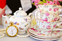 Time for tea (suzij2011) Tags: green small naturallight tophat teacups teapot 365 teatime teaparty aliceinwonderland pocketwatch