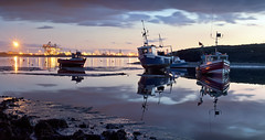 Twilight at Paddy's Hole (YorkshireSam) Tags: sunset england panorama water night clouds reflections river landscape boats evening coast fishing nikon marine scenery industrial harbour north coastal teesside tees coble northeastofengland paddyshole yorkshiresam