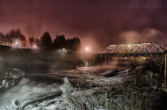 Frost and Fog (SimplyAmy74) Tags: longexposure nightphotography bridge fog frozen washington nikon spokane frost nocturnal pacificnorthwest spokaneriver nighttimephotography