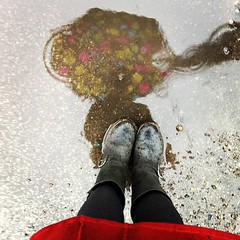 * (Lisa Toboz) Tags: selfportrait reflection rain umbrella puddle mirror melting january windy reddress astormiscoming utatafeature likepaintontheasphalt