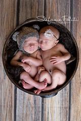 Kellan & Skye (njmommyof3boys) Tags: bear wood boy brown flower girl hat bucket twins sister brother newborn preemie headband neutral granmeasure
