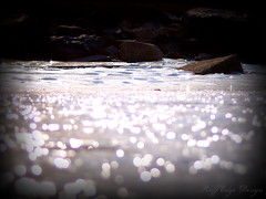 Bokeh to Ice to Rocks (Ruff Edge Design) Tags: ice picasa cropped vignette lomoish maranacooklake