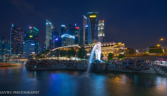 Merlion park,singapore (jaywu429) Tags: park city blue sky people water beautiful skyline zeiss buildings landscape lights singapore asia downtown cityscape outdoor sony hotels bluehour merlion sonycamera singaporeriver marinabay singaporecity sonya7r sony1635mmf4 zeiss1635mmf4