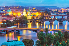 PVBB (Voyages Lambert) Tags: aerialview architecture bridge buildingexterior builtstructure capitalcities charlesbridge city cityscape czechrepublic dusk easterneurope europe famousplace illuminated old outdoors prague reflection river town townscape urbanscene vltavariver water