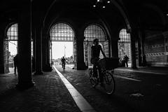Rijksmuseum Passage @ Amsterdam (PaulHoo) Tags: amsterdam city holland urban netherlands street streetphotography streetcandid candid 2016 citylife cycling bicycle bike nikon d700 nik silverefex lightroom rijksmuseum passage contrast light shadow