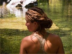 Sunshine and Karen (marneejill) Tags: karen young woman earlobes hole profile river cooling down dreadlocks reflections colour green