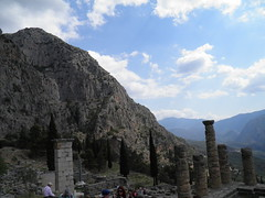 Delphi, Temple of Apollo and mountains (dr.heatherleemccarthy) Tags: greece delphi temple apollo clouds
