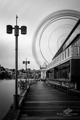 Boardwalk (Bobby Krstanoski - Photography) Tags: architecture australia australianhistory blackwhite buildings canon5dmarkiii canonef1635f28 cityscapes clearsky eastcoastaustralia ferriswheel harbour history landscape lee10stop leebigstopper longeposure lunapark milsonspoint nsw outdoor places sping sunset
