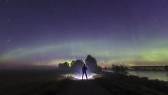 On the Aurora Road (Jyrki Liikanen) Tags: nightphotography auroraborealis aurorascape auroras foggy mistyriver dakness lightinthedarkness starrynight starrysky riverside nikon nikonphotography nightlight night silhouette silhouettetrees september finland naturephotography naturephenomenon flashlight