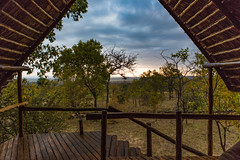 View of Sunset from the Safari Lodge (Yooch) Tags: tanzania wooden hut lodge stilts safari sunset landscape trees grassland wood africa african clouds canon canon5d 5d iii 2470 2470mm dusk cloud view room building structure roof thatched