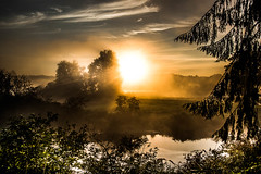 Valley Morning (jeanmarie (been working lots of overtime)) Tags: jeanmarieshelton jeanmarie river sunlight sunrise sun water waterscape landscape light trees reflections nikon nature morning fog forest mist sky clouds