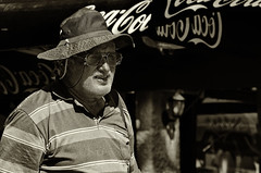 CocaCola And The Hat (Alfred Grupstra Photography (bussy until 30 octobe) Tags: bw cocacola blackandwhite hat man people street streetphotography streetlife sun ohrid macedonivjrm mk