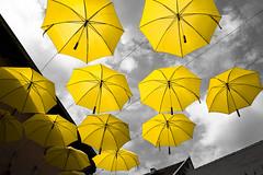 Sky Umbrellas (Vadim Tsymbalyuk) Tags: umbrellas sky street selectivecoloring cityscape zuiko 24 scene scenery view szentendre