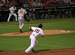 Pedey, as if breaking for second (ConfessionalPoet) Tags: redsox baseball dustinpedroia secondbaseman 2b baserunner firstbase