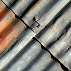 the tie that binds (fourcotts) Tags: fourcotts square olympus omd em5 mkii corrugated iron rust steel tie angle slant evanston wyoming usa roundhouse silver