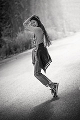 Dance On the Street [EXPLORED] (chockolina) Tags: girl teen dance light road street bw d750 nikon