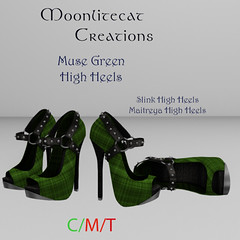 Muse Green High Heels Ad Pic (moonlitecat) Tags: hunt your inner slut moonlitecat creation mesh slink belleze maitreya fimesh rigged high heel collar gacha spikes leather punk skirt haltertop halter top laced vest mens men women womens moon moonlite hudded texture change