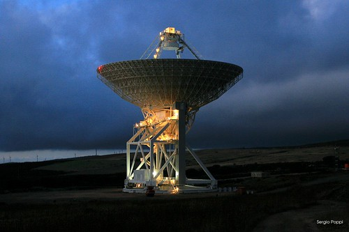 Sardinia Radio Telescope by night