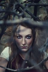 Tess. (David Talley) Tags: blue forest hair trapped eyes woods branches freckles trap davidtalley