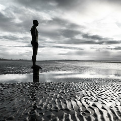 Gormley (mahonyweb) Tags: uk england silhouette liverpool lightroom anotherplace crosbybeach singleexposure gormleystatue nikon2470mmf28ged d800e nikond800e