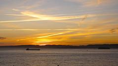Amanecer (Jose Maria Sancho Aguilar) Tags: sea sky espaa naturaleza clouds sunrise lumix bay mar spain europa europe barco ship natura panasonic amanecer cielo nubes santander cantabria baha espanya cantbrico fz38 josmarasancho