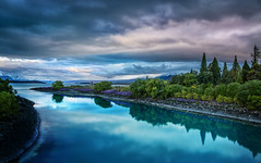 Evening on the blue Lake Tekapo (Stuck in Customs) Tags: new travel blue trees sunset newzealand lake southwest reflection nature water weather clouds digital photography evening blog high scenery december dynamic stuck natural pacific scenic photoblog zealand software processing southisland laketekapo imaging range aotearoa hdr tutorial trey travelblog 2012 customs tekapo ratcliff tewaipounamu hdrtutorial stuckincustoms treyratcliff photographyblog stuckincustomscom nikond800 tewakaamaui