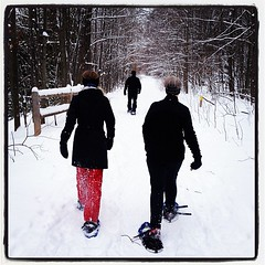 Snowshoe round 2 #snowshoeing #snow #tc #traversecity #upnorth (bryan elkus) Tags: square lofi squareformat iphoneography instagramapp uploaded:by=instagram
