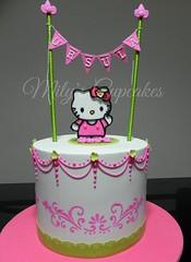 Hello Kitty Cake (Mily'sCupcakes) Tags: hello birthday pink argentina cake buenosaires banner kitty sanrio mily´scupcakes