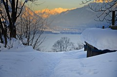Untitled (AincaArt) Tags: schnee sunset mountain lake snow berg bench schweiz switzerland see sonnenuntergang brienzersee suisse bank svizzera interlaken thunersee berneroberland berneseoberland svizra lakethun lakebrienz mungga nikond7000 aincaart