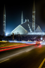 King Faisal Mosque, Islamabad, Pakistan. (asad_malik) Tags: city pakistan light night canon photography king republic slow traffic muslim islam tripod capital trails mosque area shutter malik masjid islamic faisal islamabad ict asad 1755 fedral 60d