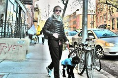 blonde loving her poodle (omoo) Tags: newyorkcity dog pet girl westvillage streetscene sidewalk blonde doggie youngwoman greenwichvillage aviatorsunglasses west11thstreet nikonpainting girlwalkingherlittleblackpoodle blondeandpoodle fcsn2709 blondedogwalker