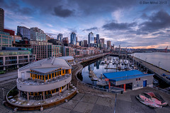 Seattle Bell Street Pier (Dan Mihai) Tags: seattle city sunset sky skyline clouds marina harbor washington cityscape waterfront sundown dramatic pacificnorthwest pugetsound elliottbay washingtonstate hdr alaskanway pier66 bellharbor bellstreet photomatix bellstreetpier bellharbormarina
