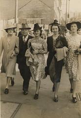 Aunt al, uncle neil, joyce, nessie, jean - sydney 1941 (JohnsHonours) Tags: old portrait blackandwhite bw sepia vintage postcard nostalgia western analogue damaged familyphoto familyphotos