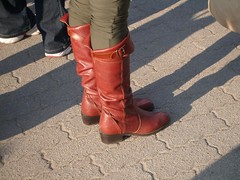 low heel knee high boots (長靴を愛でる者) Tags: redbrown longboots 茜色