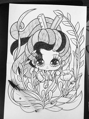 WIP Tributo/Arrietty/Hayao Miyazaki/Studio Ghibli (Anita Mejia) Tags: color art illustration digital pen ink photoshop watercolor mexico sketch wip totoro markers bic hayaomiyazaki boligrafo arrietty chocolatita anitamejia