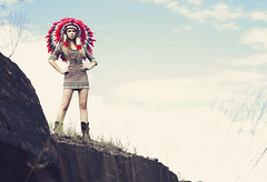 Annawon (AnnuskA  - AnnA Theodora) Tags: blue red sky abandoned colors beautiful fashion cool model war rocks boots head spirit free brazilian bonnet quarry headdress chied annawonmeanschieforleaderinthealgonquianwakashanlanguage