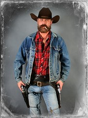 Lonesome Blues Cowboy (Cowboy Tommy) Tags: portrait hot sexy vintage beard jeans western levi denim levis stud holster bulge gunbelt