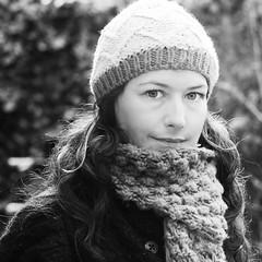 Me B&W (~Helen Cat) Tags: bw selfportrait cold me smile hat smiling scarf self blackwhite sp selfie sliderssunday