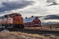 Northbound (Kristal Kraft ~ DenverDwellings) Tags: ranch railroad sunset orange field train colorado tracks engine pasture greenland co locomotive bnsf redbarn